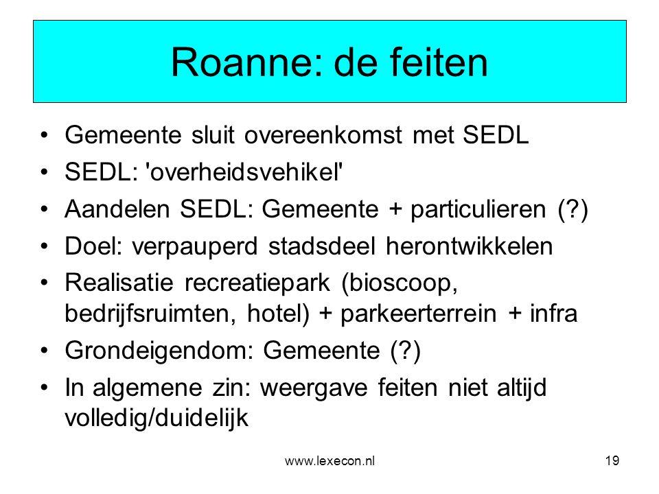 Roanne: de feiten Gemeente sluit overeenkomst met SEDL