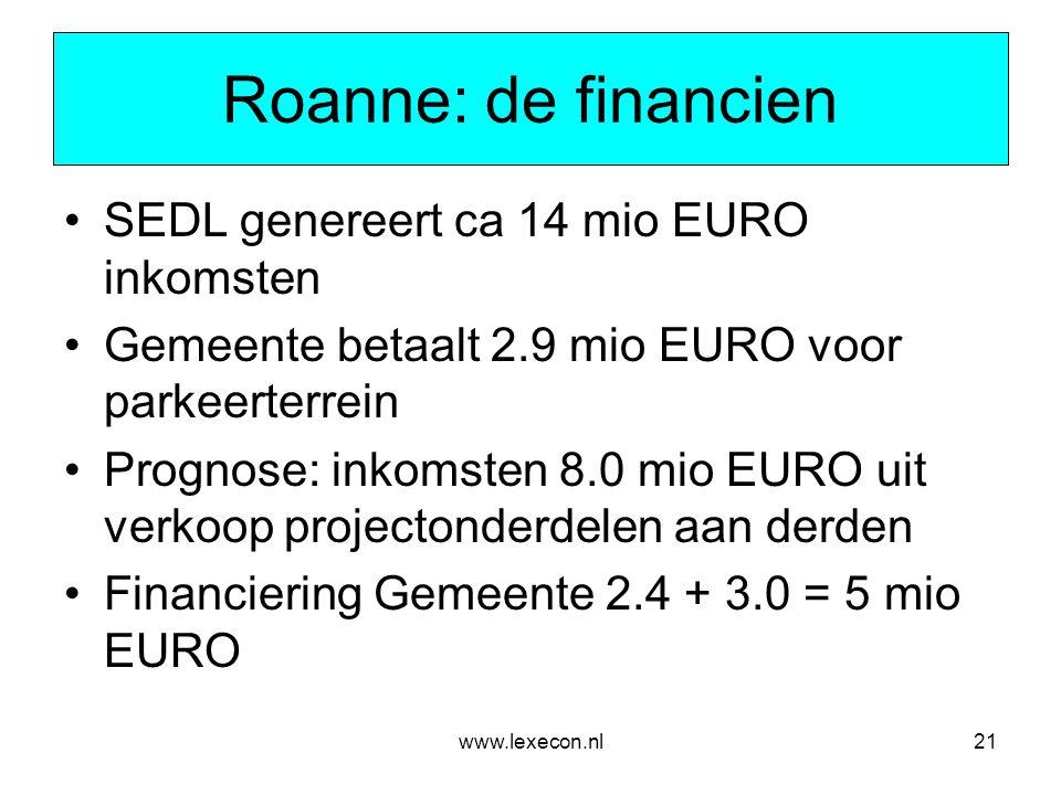 Roanne: de financien SEDL genereert ca 14 mio EURO inkomsten
