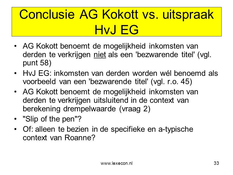 Conclusie AG Kokott vs. uitspraak HvJ EG