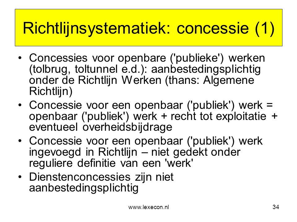 Richtlijnsystematiek: concessie (1)