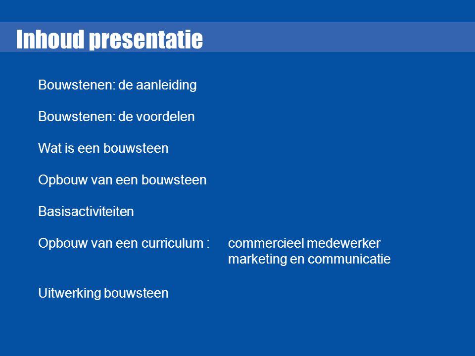 Inhoud presentatie Bouwstenen: de aanleiding Bouwstenen: de voordelen
