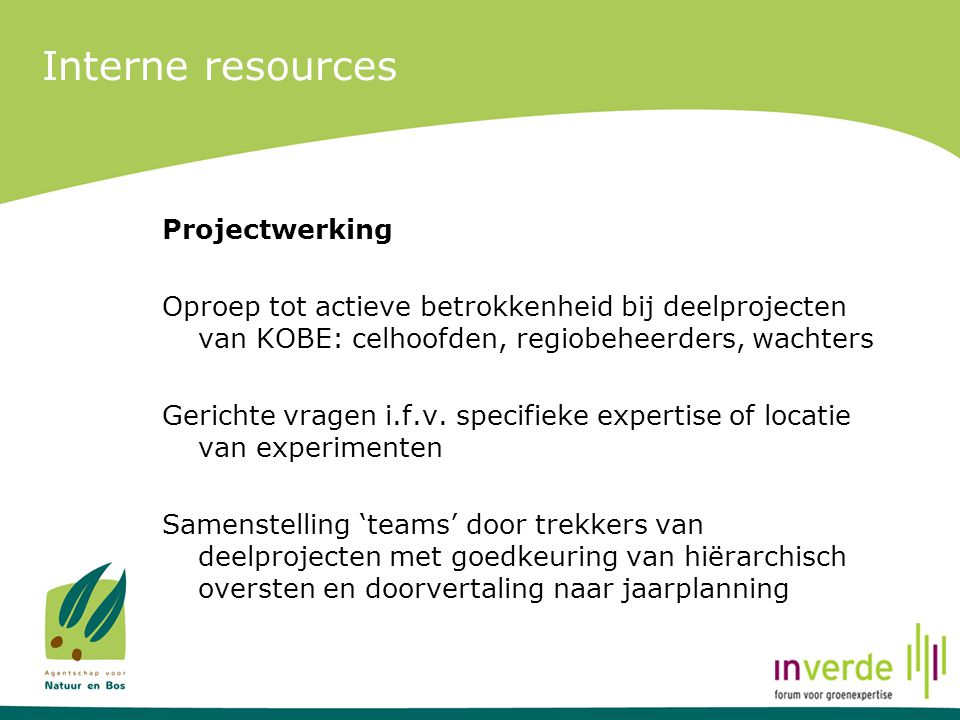 Interne resources Projectwerking