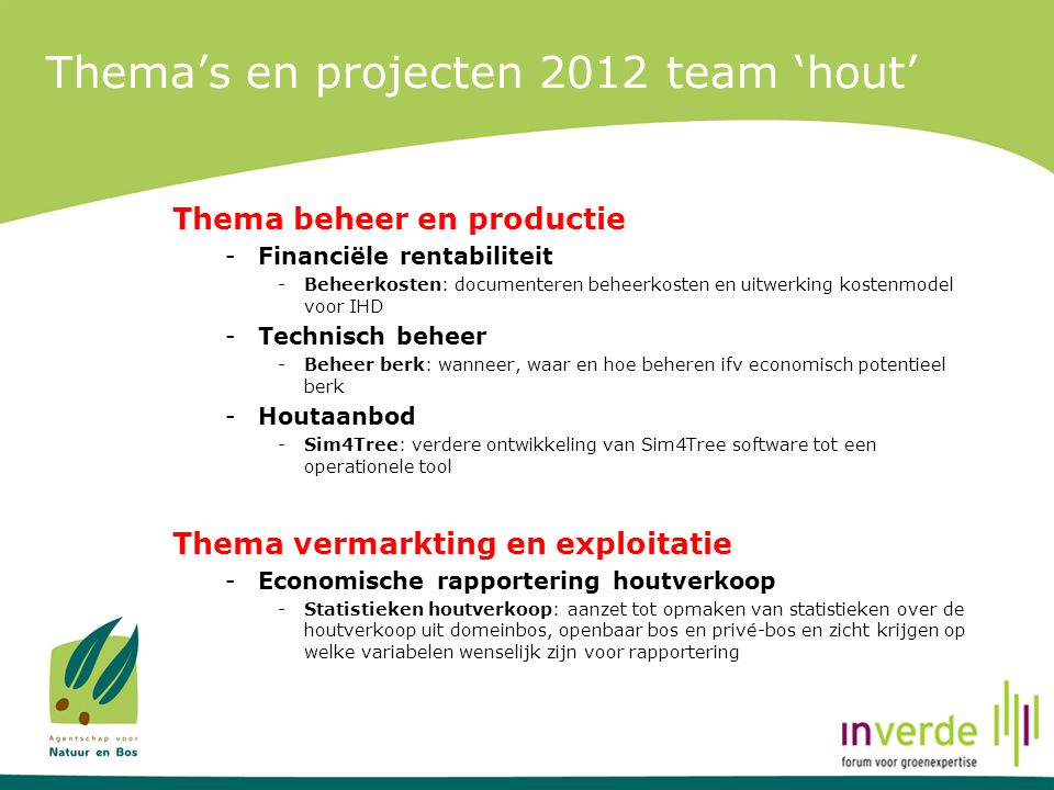 Thema's en projecten 2012 team 'hout'