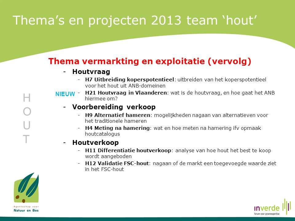 Thema's en projecten 2013 team 'hout'