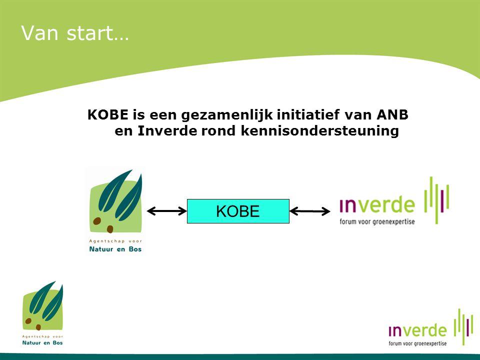 Van start… KOBE is een gezamenlijk initiatief van ANB en Inverde rond kennisondersteuning KOBE