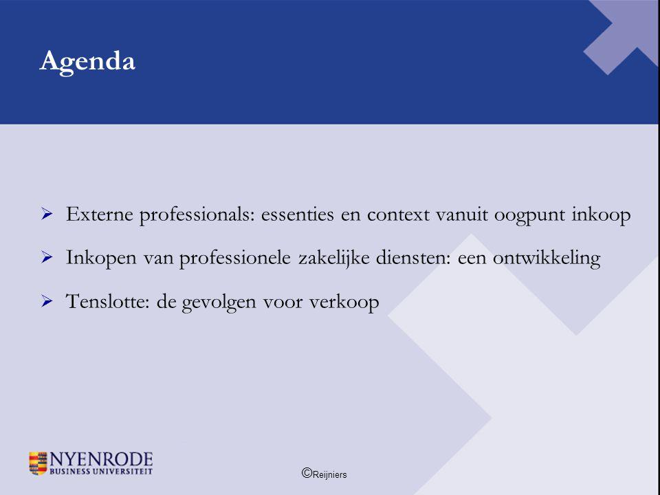 Agenda Externe professionals: essenties en context vanuit oogpunt inkoop. Inkopen van professionele zakelijke diensten: een ontwikkeling.