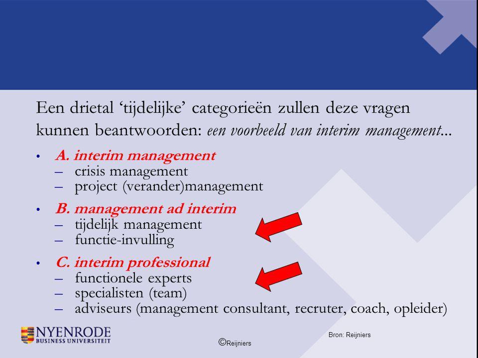 Een drietal 'tijdelijke' categorieën zullen deze vragen kunnen beantwoorden: een voorbeeld van interim management...