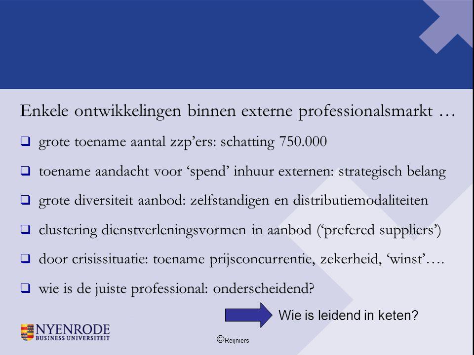 Enkele ontwikkelingen binnen externe professionalsmarkt …