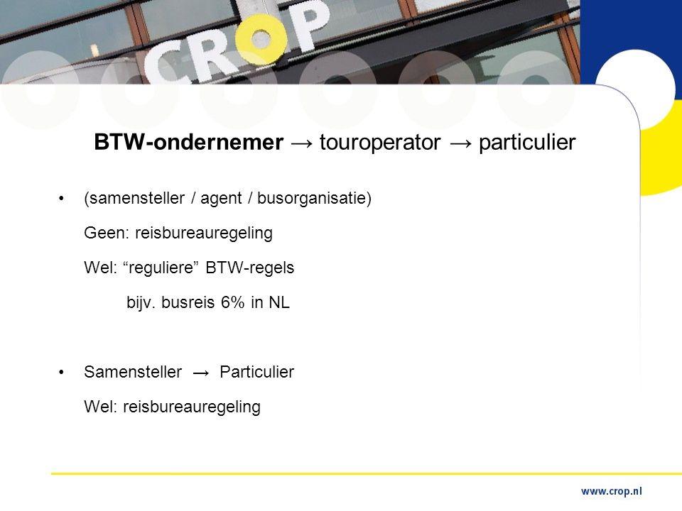 BTW-ondernemer → touroperator → particulier