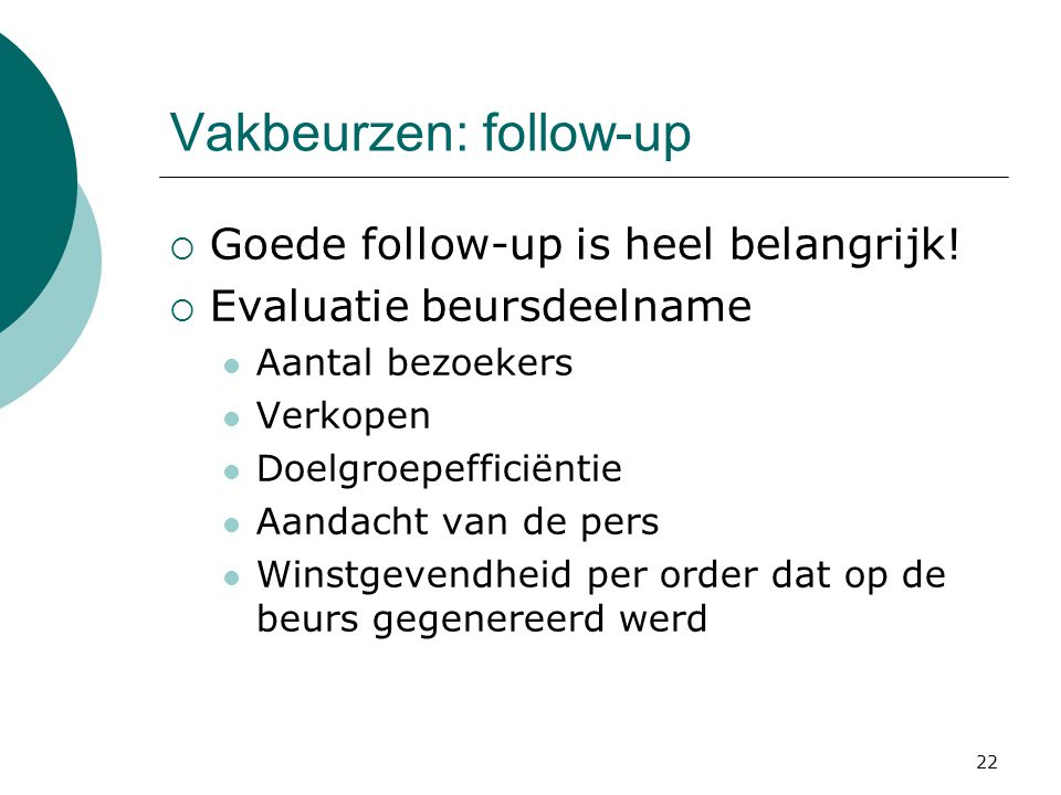 Vakbeurzen: follow-up
