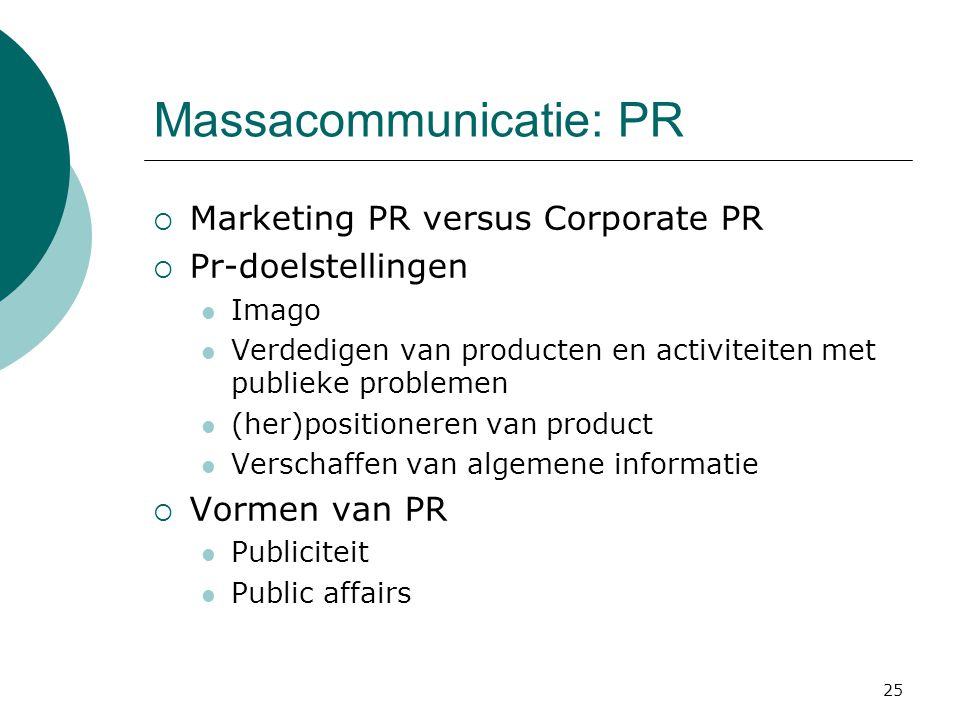 Massacommunicatie: PR