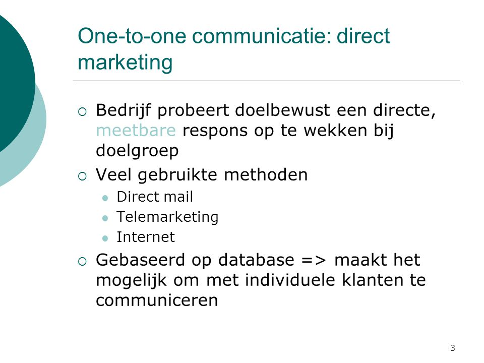 One-to-one communicatie: direct marketing