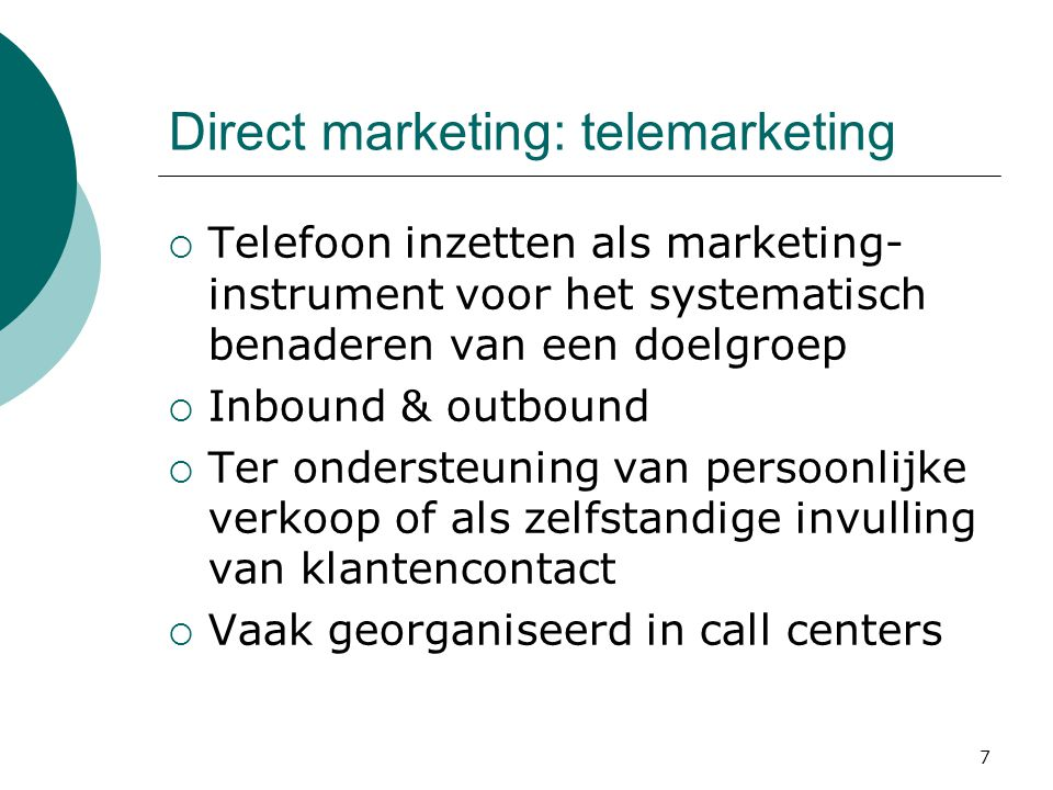 Direct marketing: telemarketing