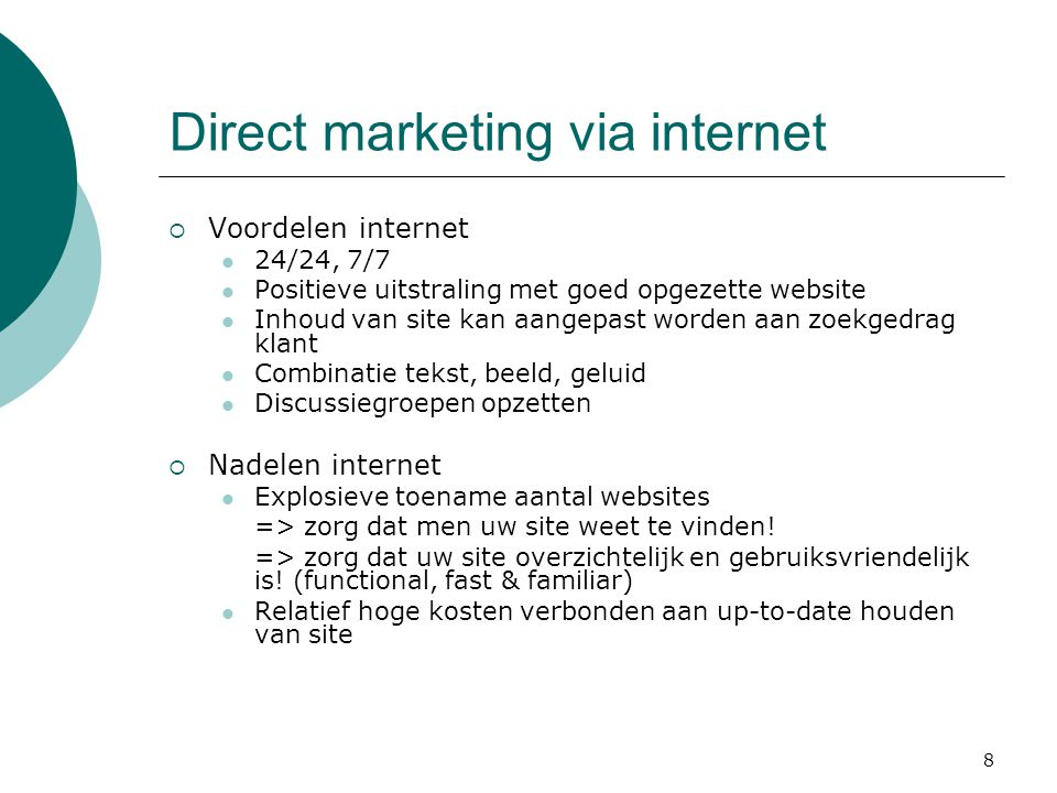 Direct marketing via internet