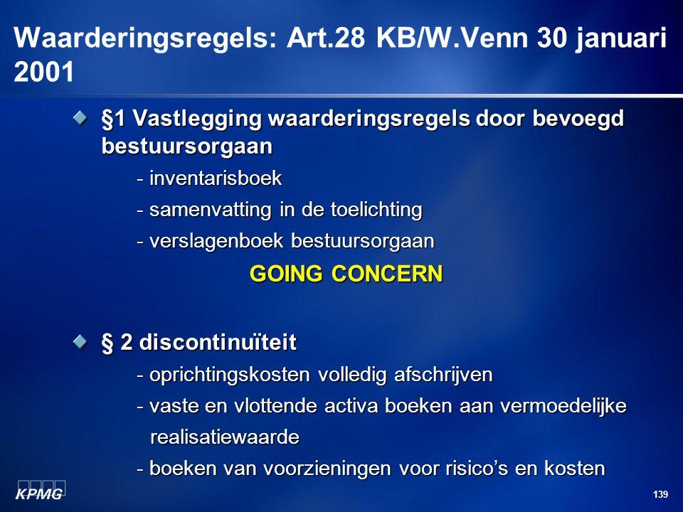 Waarderingsregels: Art.28 KB/W.Venn 30 januari 2001