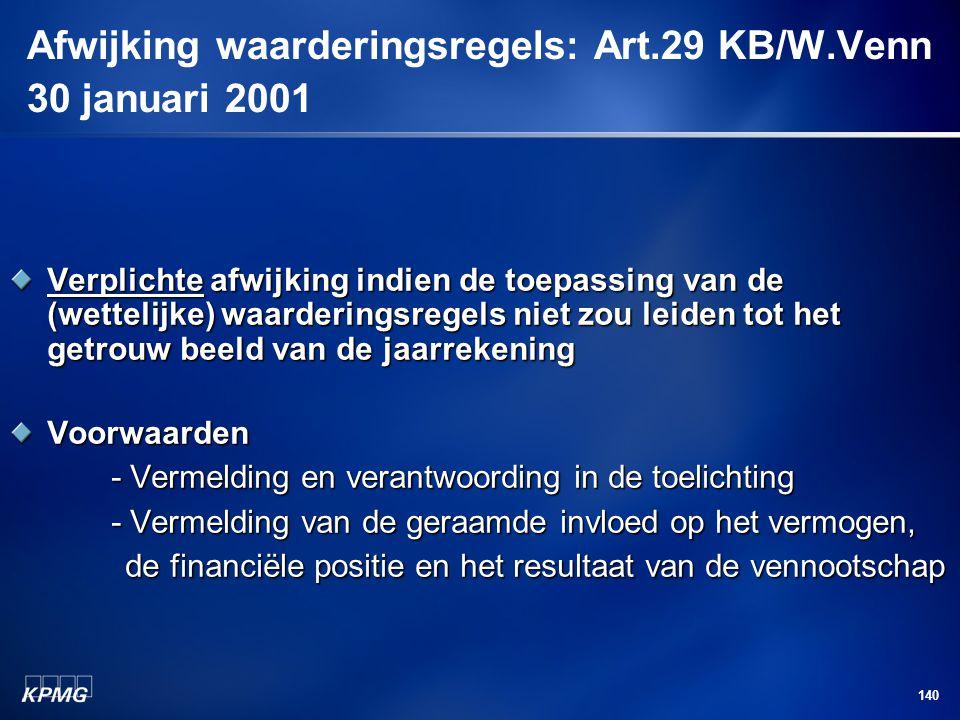 Afwijking waarderingsregels: Art.29 KB/W.Venn 30 januari 2001
