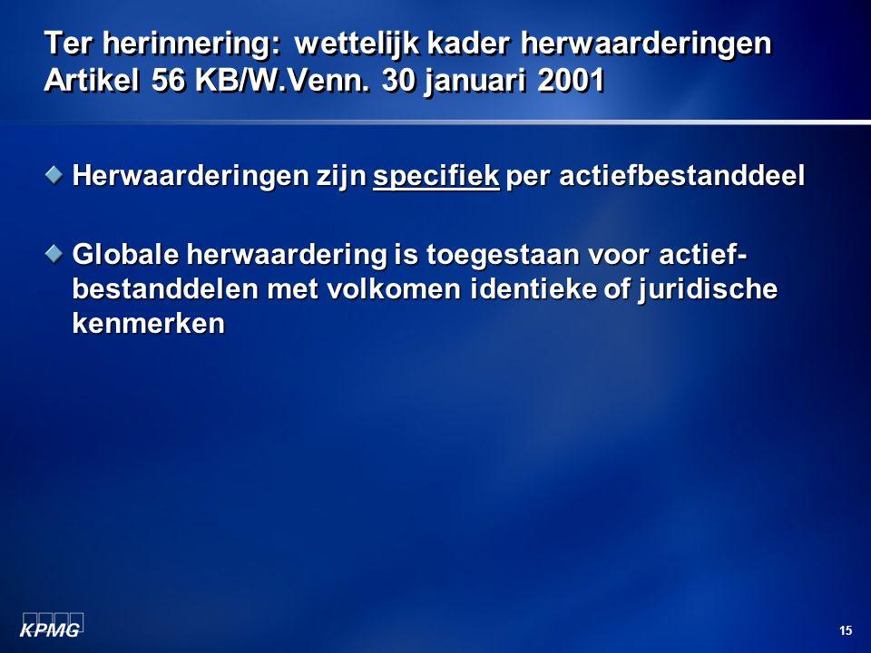 Ter herinnering: wettelijk kader herwaarderingen Artikel 56 KB/W. Venn