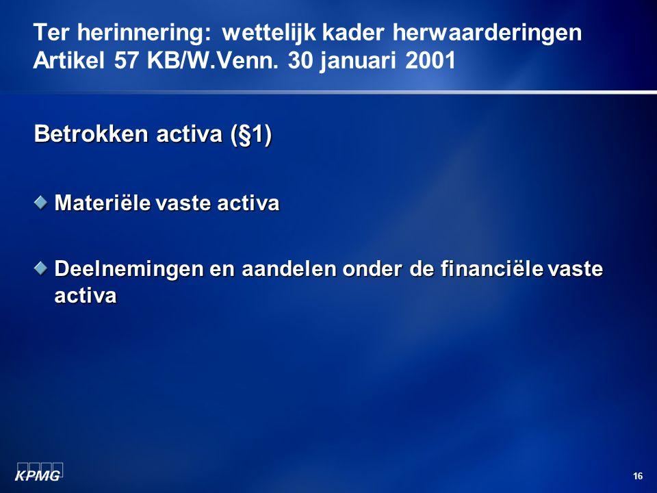 Ter herinnering: wettelijk kader herwaarderingen Artikel 57 KB/W. Venn