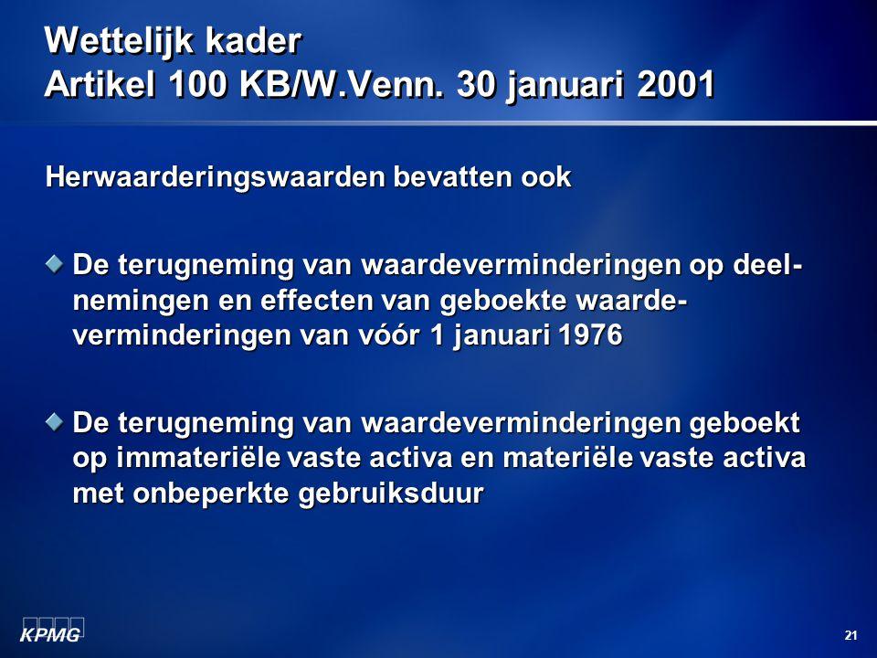 Wettelijk kader Artikel 100 KB/W.Venn. 30 januari 2001
