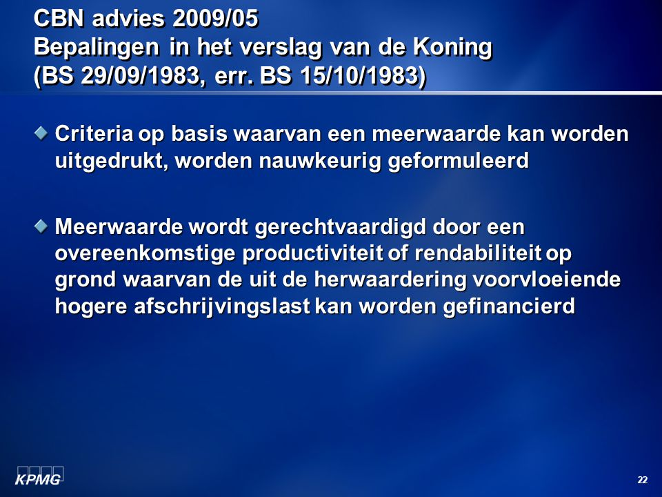 CBN advies 2009/05 Bepalingen in het verslag van de Koning (BS 29/09/1983, err. BS 15/10/1983)