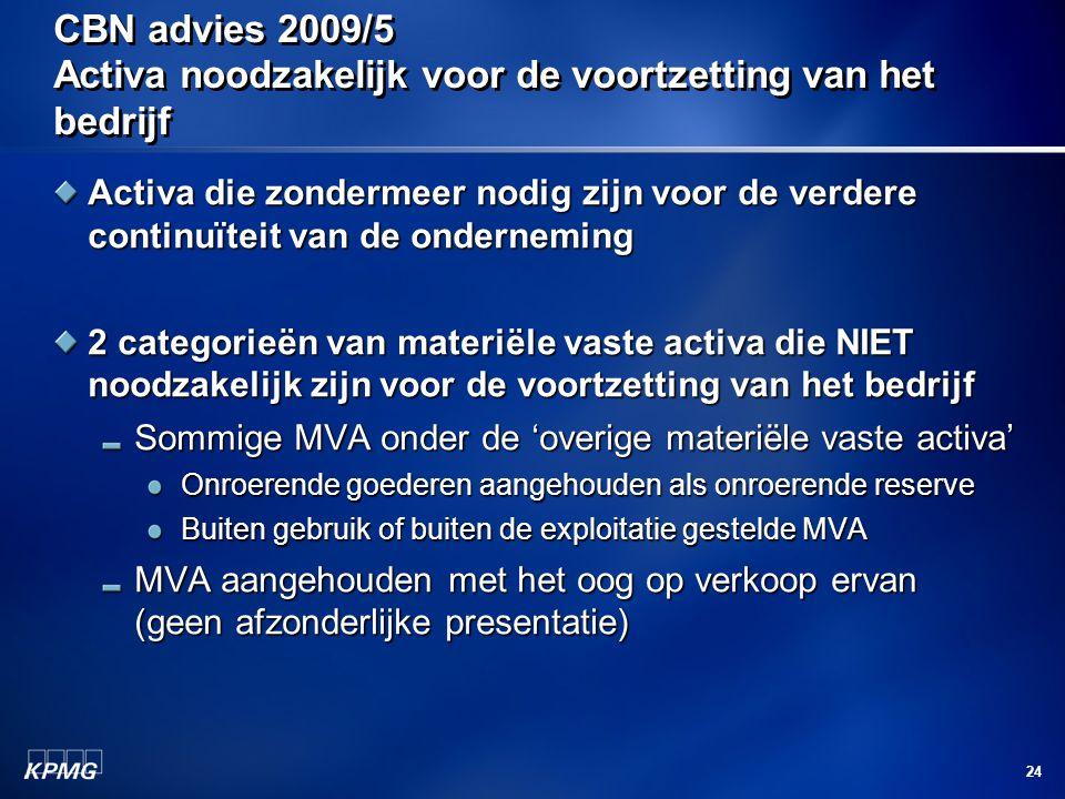 CBN advies 2009/5 Activa noodzakelijk voor de voortzetting van het bedrijf