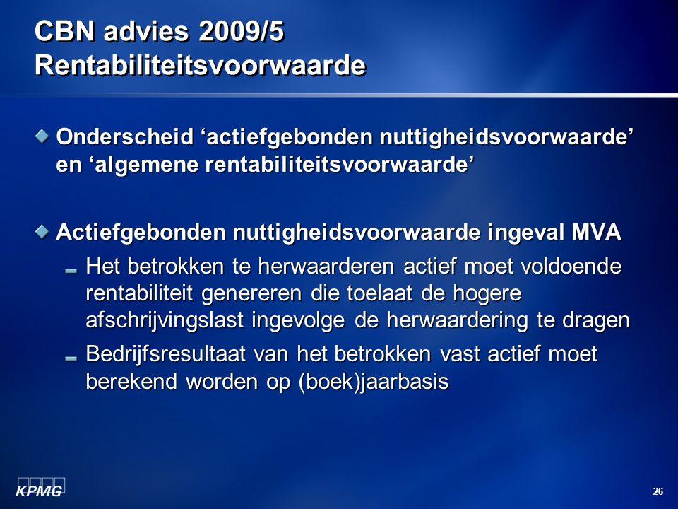 CBN advies 2009/5 Rentabiliteitsvoorwaarde