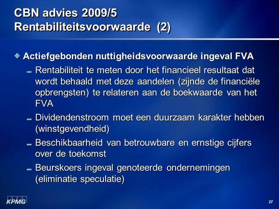 CBN advies 2009/5 Rentabiliteitsvoorwaarde (2)