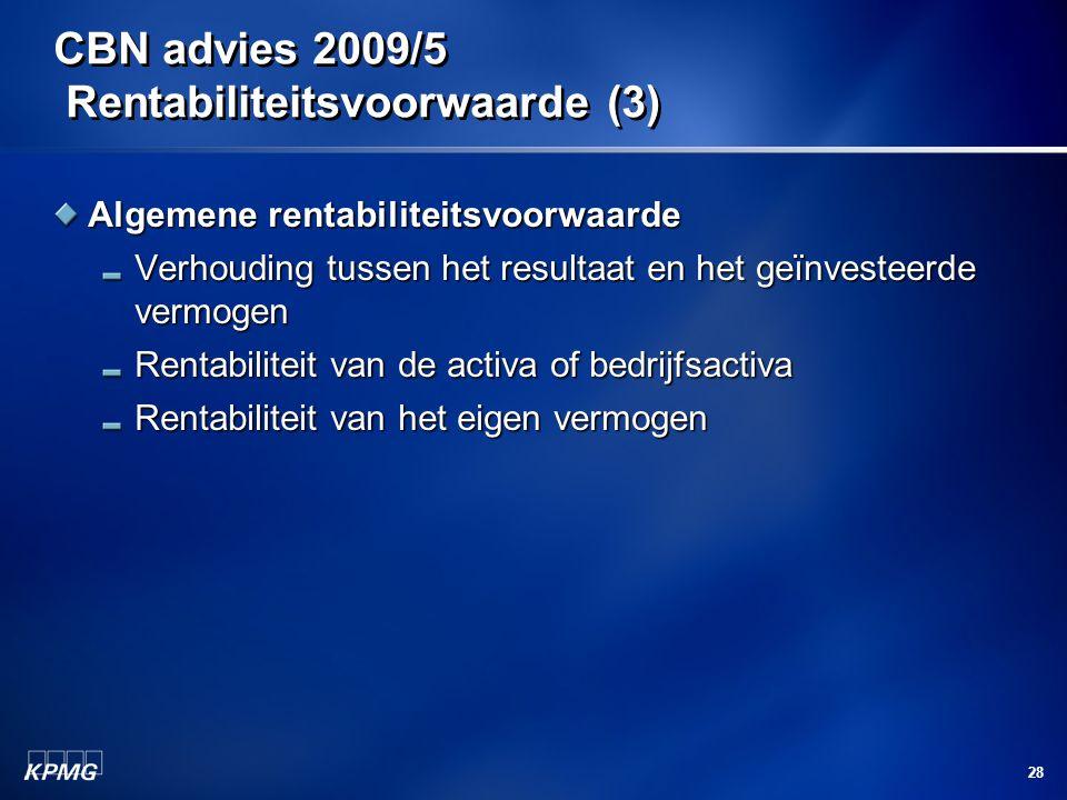CBN advies 2009/5 Rentabiliteitsvoorwaarde (3)