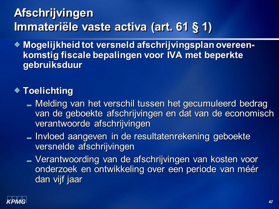 Afschrijvingen Immateriële vaste activa (art. 61 § 1)