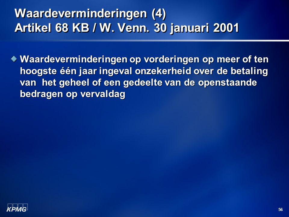 Waardeverminderingen (4) Artikel 68 KB / W. Venn. 30 januari 2001