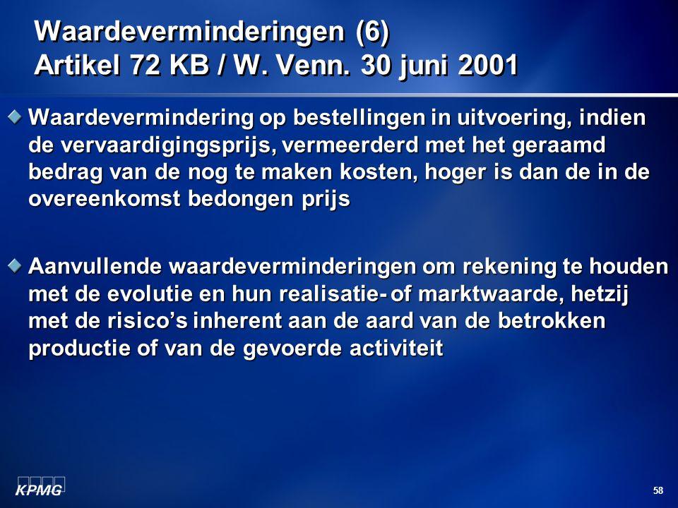 Waardeverminderingen (6) Artikel 72 KB / W. Venn. 30 juni 2001