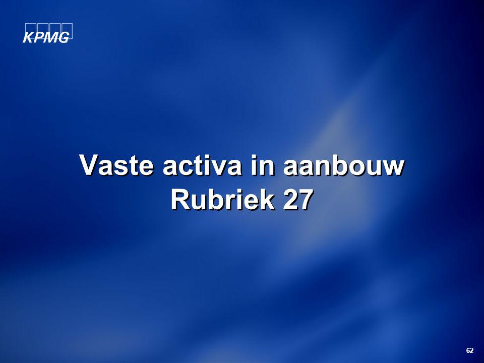 Vaste activa in aanbouw Rubriek 27