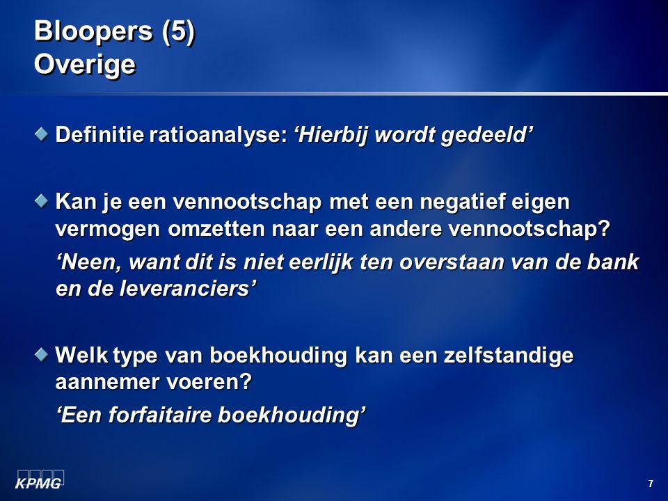 Bloopers (5) Overige Definitie ratioanalyse: 'Hierbij wordt gedeeld'