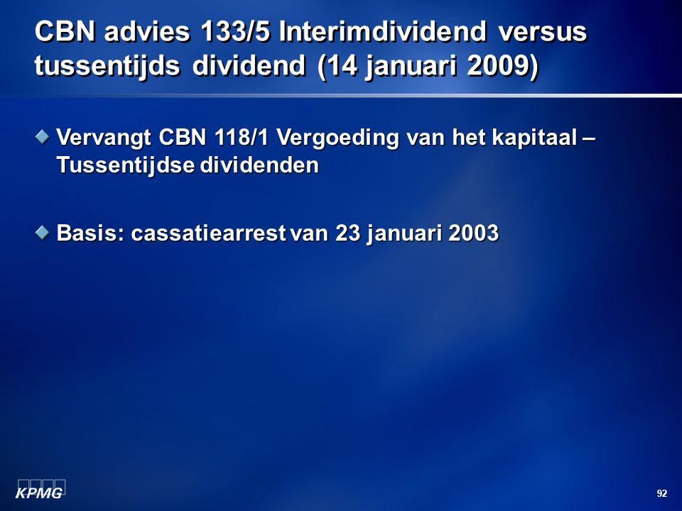CBN advies 133/5 Interimdividend versus tussentijds dividend (14 januari 2009)