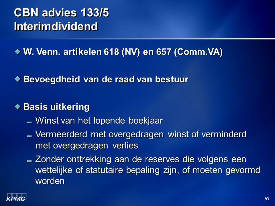 CBN advies 133/5 Interimdividend