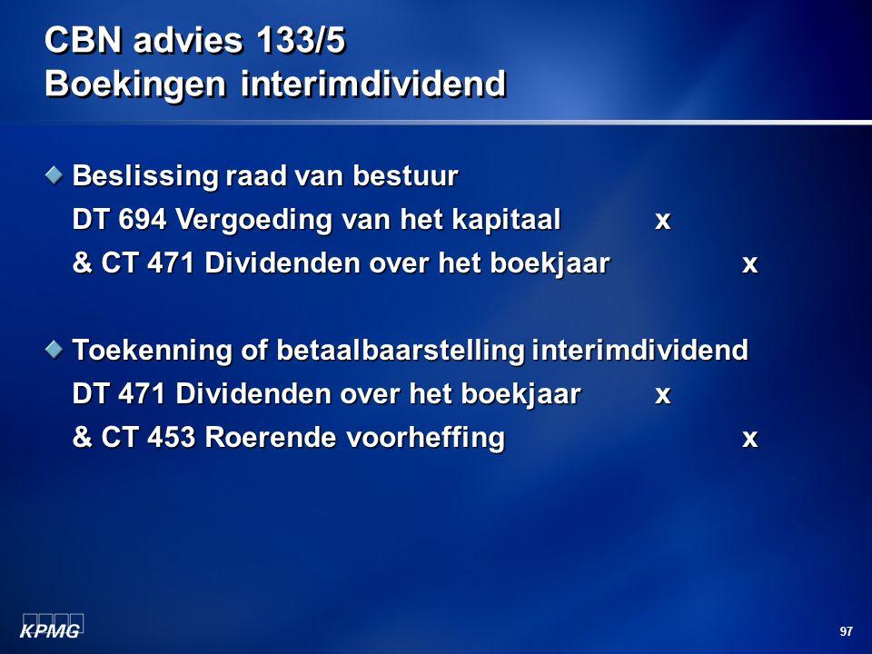 CBN advies 133/5 Boekingen interimdividend