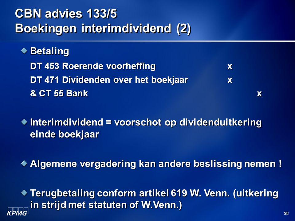 CBN advies 133/5 Boekingen interimdividend (2)