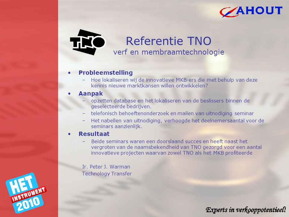 Referentie TNO verf en membraamtechnologie