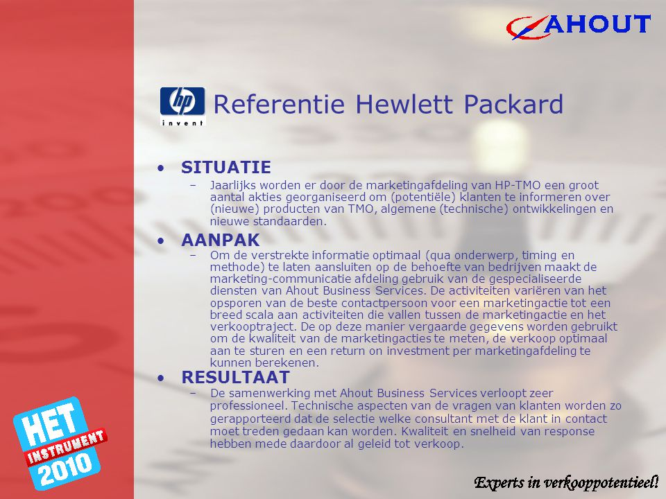 Referentie Hewlett Packard