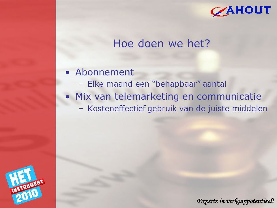 Hoe doen we het Abonnement Mix van telemarketing en communicatie
