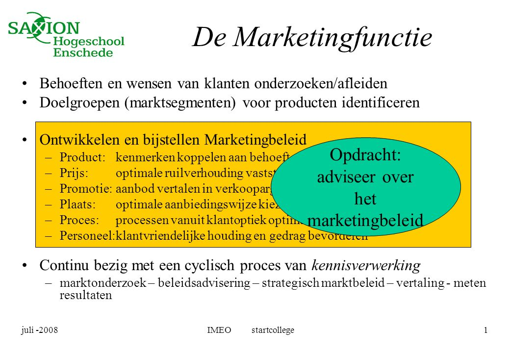 Opdracht: adviseer over het marketingbeleid