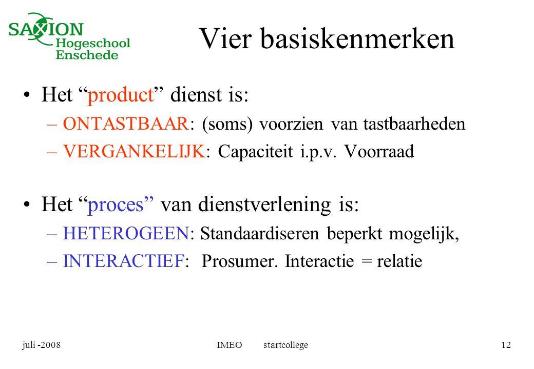 Vier basiskenmerken Het product dienst is: