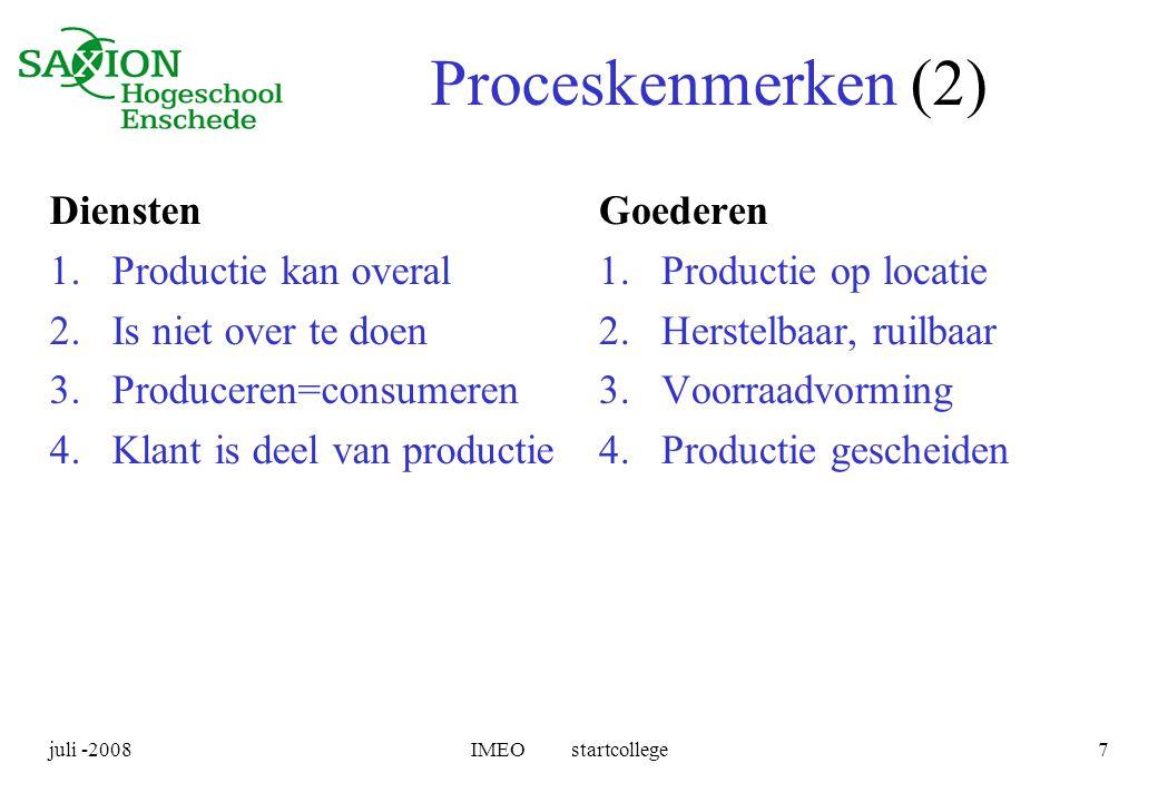 Proceskenmerken (2) Diensten Productie kan overal Is niet over te doen