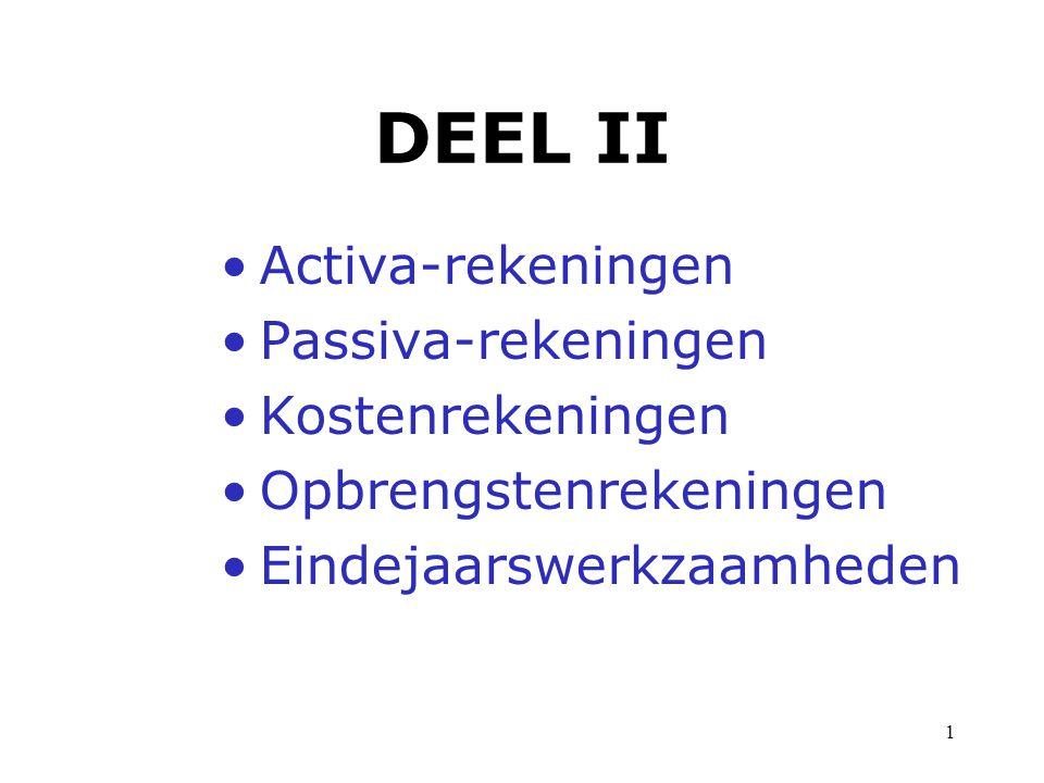 DEEL II Activa-rekeningen Passiva-rekeningen Kostenrekeningen