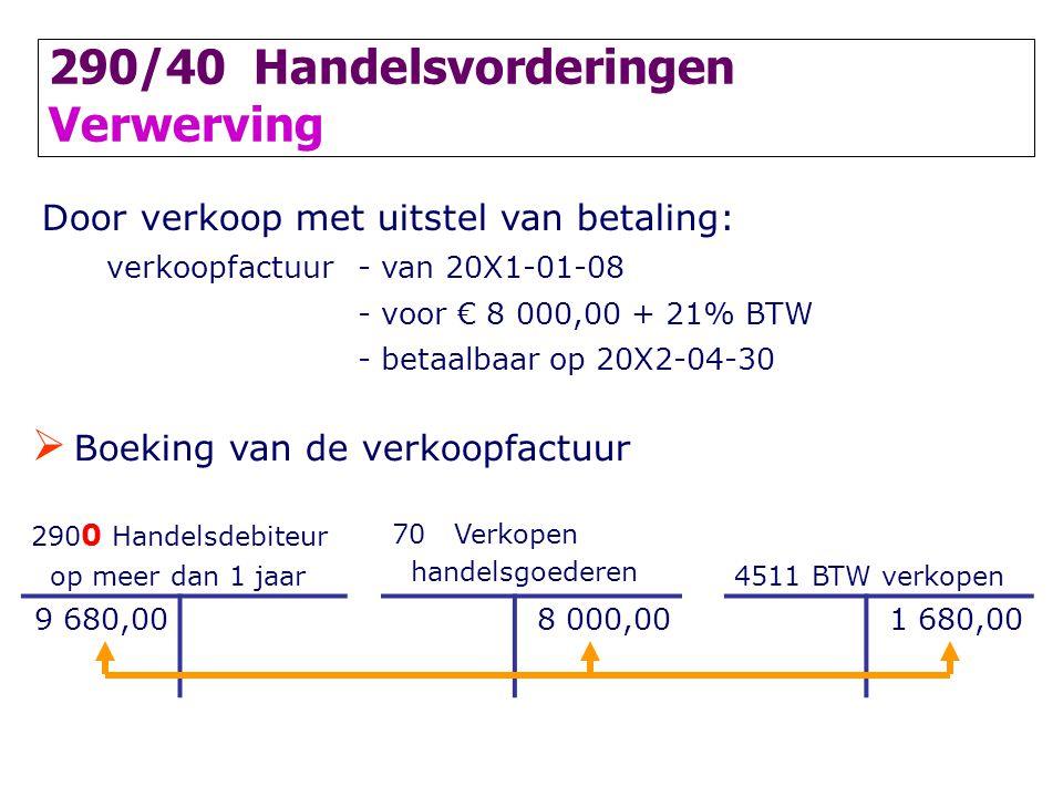290/40 Handelsvorderingen Verwerving