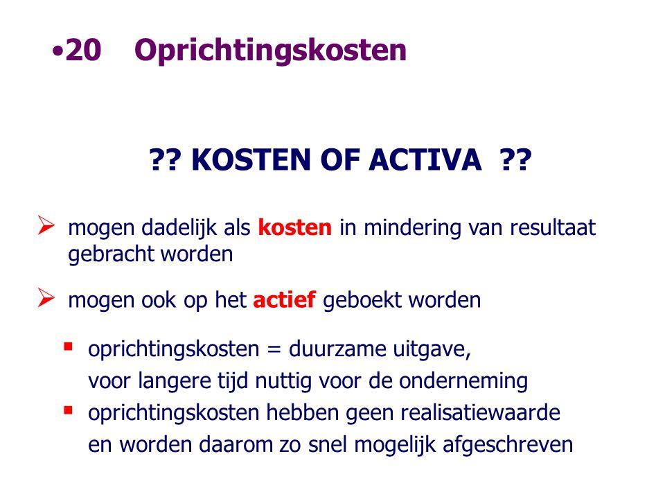 20 Oprichtingskosten KOSTEN OF ACTIVA
