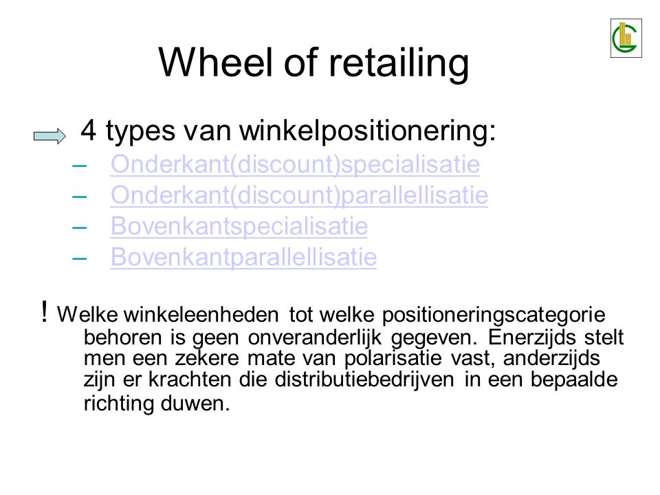 Wheel of retailing 4 types van winkelpositionering: