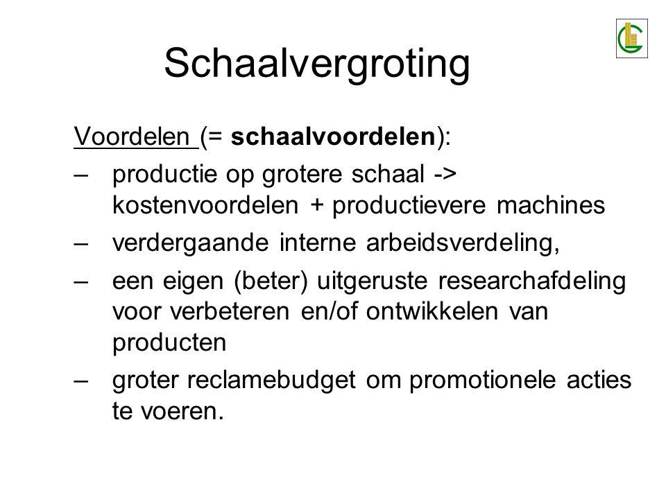 Schaalvergroting Voordelen (= schaalvoordelen):