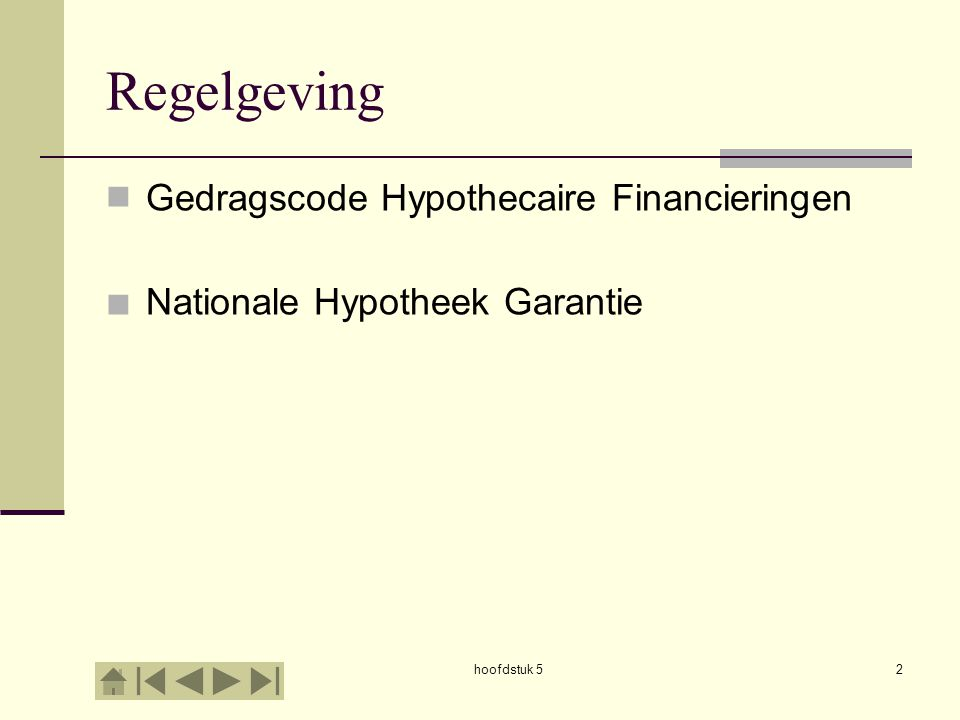Regelgeving Gedragscode Hypothecaire Financieringen