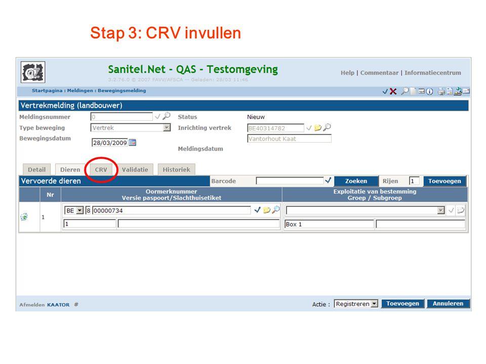 Stap 3: CRV invullen